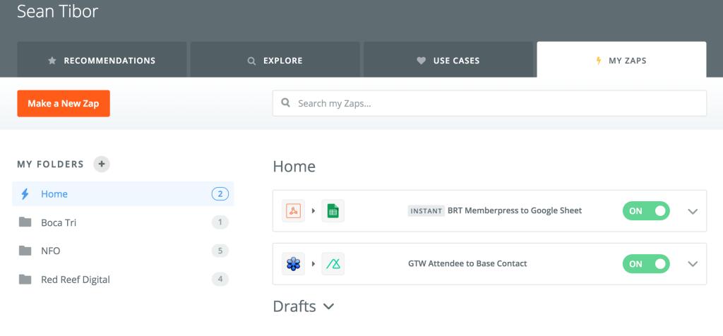 Zapier's new folders help you organize your zaps.